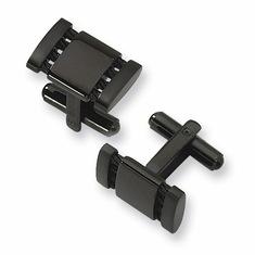 Man's Stainless Steel Black-plated Cuff Links by Chisel