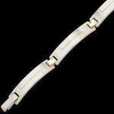 Men's 8 inch Stainless Steel and 14k Yellow  Gold Bracelet