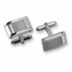 Men's Stainless Steel Grey Carbon Fiber Rectangle Cuff Links