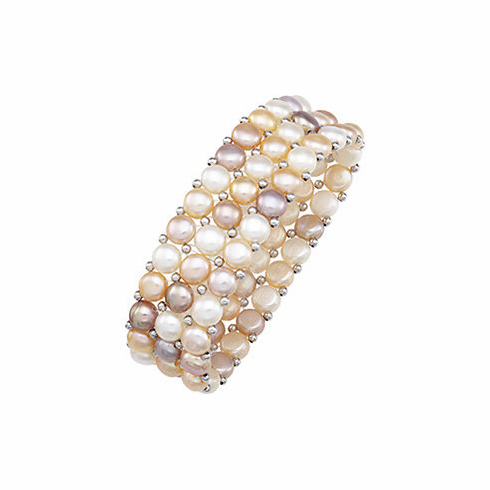 Natural Multicolor Pearl & Sterling Silver Stretch Bracelet