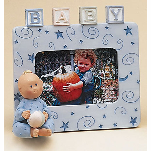 Polka Tots Nursery Blocks Frame, Resin 4.75 H, Holds 2 x 3 Picture