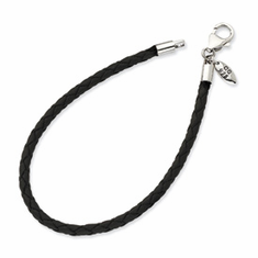 Reflection Beads Black Leather Bead Bracelet with Sterling Silver Clasp, Get this bracelet free with the purchase of 2 beads!