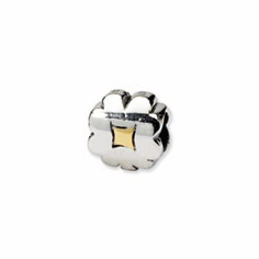 Reflection Beads Sterling Silver & 14k Yellow Gold Clover Bead