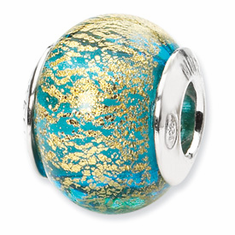 Reflection Beads Sterling Silver Aqua/Gold Italian Murano Bead