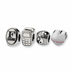 Reflection Beads Sterling Silver Best Friends Boxed Story Set  (4 beads in set)