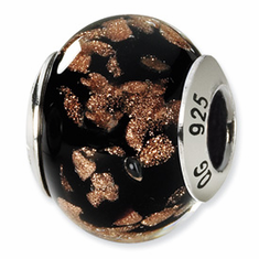 Reflection Beads Sterling Silver Black/Gold Italian Murano Bead