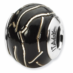 Reflection Beads Sterling Silver Black/Silver Italian Murano Bead