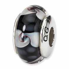 Reflection Beads Sterling Silver Black/White Hand-blown Glass Bead
