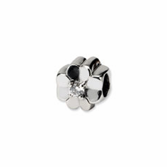 Reflection Beads Sterling Silver CZ Clover Bead
