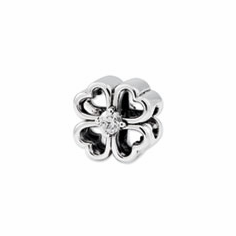 Reflection Beads Sterling Silver Four Leaf Clover w/ CZ Bead