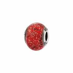 Reflection Beads Sterling Silver Italian Murano Red w/Glitter Glass Bead