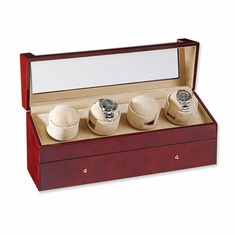 Rotations 4-Watch Watch Winder , Available in a blonde burlwood, dark burlwood, dark maple or Cherry finish