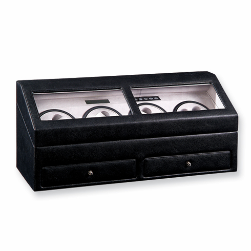 Rotations Black Genuine Leather Eight Watch Winder