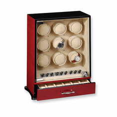 Select a Black, Dark Maple, Dark Burlwood or Cherry Glossy Finish Vertical 9-Watch Watch Winder