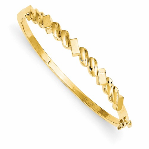 Solid 14k Gold Fancy Bangle Bracelet, 5.3mm wide