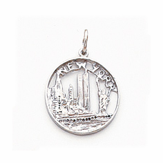 Solid 14k White Gold NYC Disc Charm with Twin Towers