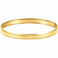 Solid 14k Yellow Gold 6mm Half Round Bangle Bracelet