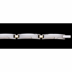 Stainless Steel and 14k Yellow Gold Bracelet