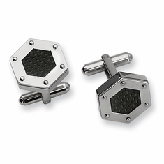 Stainless Steel Black Carbon Fiber Hexagon Men's Cuff Links by CHisel
