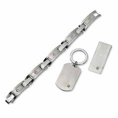 Stainless Steel Brushed Bracelet, Money Clip and Key Chain Set