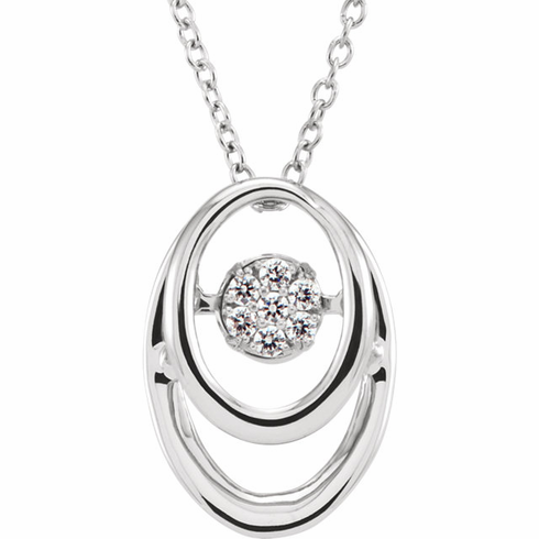 "Sterling Silver 1/10 CTW Diamond 18"" Mystara® Necklace"