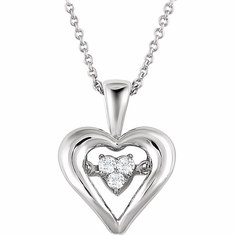 "Sterling Silver 1/10 CTW Diamond Heart 18"" Mystara® Necklace"