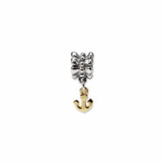 Sterling Silver & 14k Reflections Anchor Dangle Bead