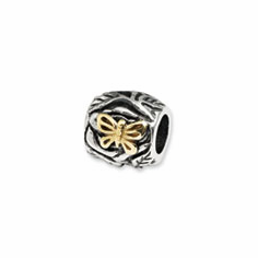 Sterling Silver & 14k Reflections Butterfly Floral Bead