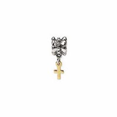 Sterling Silver & 14k Reflections Cross Dangle Bead
