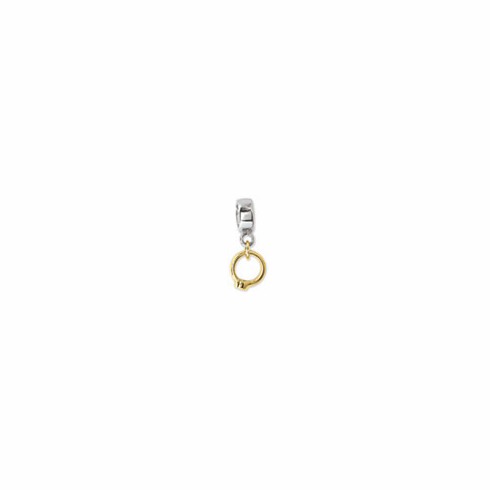 Sterling Silver & 14k Reflections CZ Ring Dangle Bead