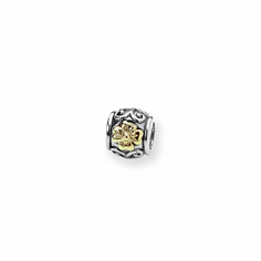 Sterling Silver & 14k Reflections Floral Bead
