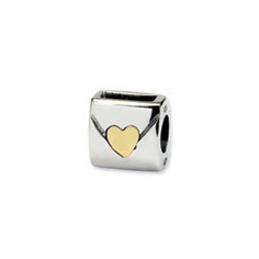 Sterling Silver & 14k Reflections Love Note Bead