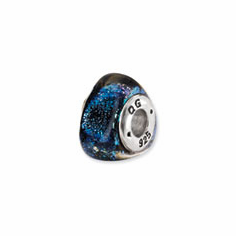 Sterling Silver Blue Dichroic Glass Triangle Bead