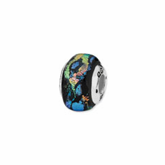 Sterling Silver Blue Square Dichroic Glass Bead