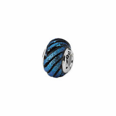 Sterling Silver Blue Swirl Dichroic Glass Bead
