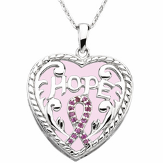 Sterling Silver Breast Cancer Awareness Pendant