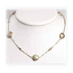 Sterling Silver Champagne CZ/Biwa Coin Pearl Necklace
