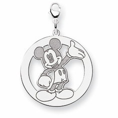Sterling Silver Disney Waving Mickey Lobster Clasp Charm