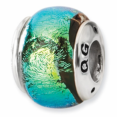 Sterling Silver Green Dichroic Glass Bead