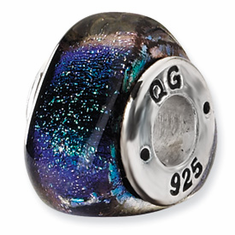 Sterling Silver Green Dichroic Glass Triangle Bead