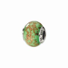 Sterling Silver Green/Gold Italian Murano Bead