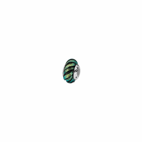 Sterling Silver Green Swirl Dichroic Glass Bead