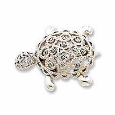 Sterling Silver  Marcasite PIN MOVING TURTLE