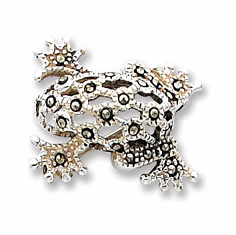 Sterling Silver  Marcasite PIN OPEN FROG