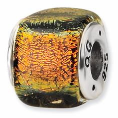 Sterling Silver Orange Dichroic Glass Square Bead