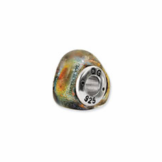 Sterling Silver Orange Dichroic Glass Triangle Bead