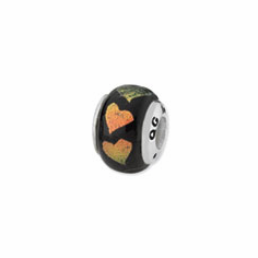 Sterling Silver Orange/Green Hearts Dichroic Glass Bead