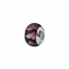 Sterling Silver Pink/Purple Hearts Dichroic Glass Bead
