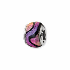Sterling Silver Purple Dichroic Glass Bead