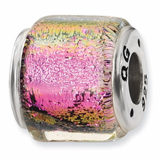 Sterling Silver Purple/Pink/Green Dichroic Glass Bead